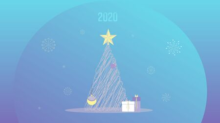 Abstract vector illustration with christmas tree, gifts and ornaments in shades of blue, lilac, aqua and yellow.