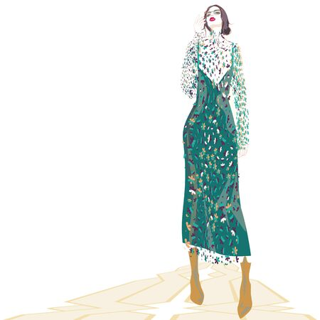 VECTOR FASHION ILLUSTRATION OF YOUNG CAUCASIAN WOMAN WITH GLASSES AND ABSTRACT FLORAL DRESS IN SHADES OF GREEN. ISOLATED FROM BACKGROUND. Çizim