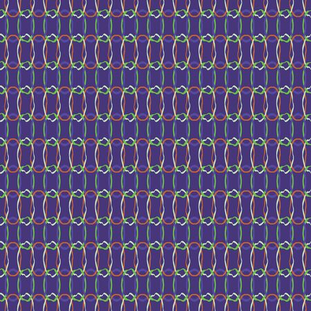 Vector illustration of lilac, purple, green and orange warped circles in geometric layout on navy background. Seamless repeat pattern for gift wrap, textile, fabric, scrapbooking and fashion.