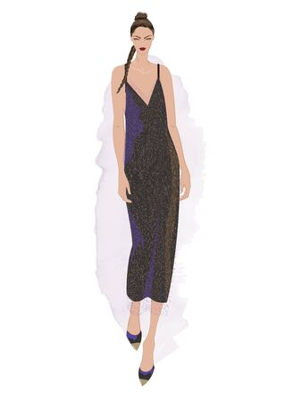 VECTOR FASHION ILLUSTRATION OF YOUNG, BEAUTIFUL WOMAN IN SEQUINED SPARKLING COCKTAIL DRESS. ISOLATED FROM BACKGROUND. Stok Fotoğraf