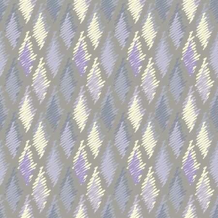 Vector illustration of soft yellow, grey, lilac and purple scribbled warped rhombuses. Scribble texture, textile rapport. Seamless repeat pattern for gift wrap, textile, fabric, scrapbooking and fashion. Isolated from background.
