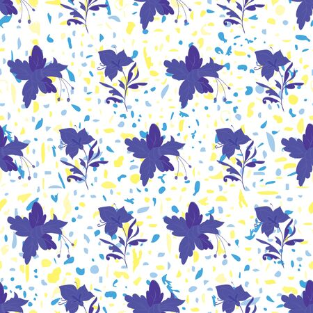 Floral seamless pattern. Vector illustration of abstract flowers, orchids and confetti in yellow, aqua, blue, indigo. Isolated from white background. Designed for fashion, fabric, home decor.