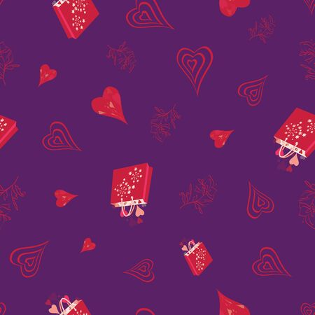 Hearts, chocolates, presents, gifts, shopping bags, flowers. Abstract vector seamless pattern with stylized shapes. Valentine themed graphic illustration in lilac, pink, red and purple.