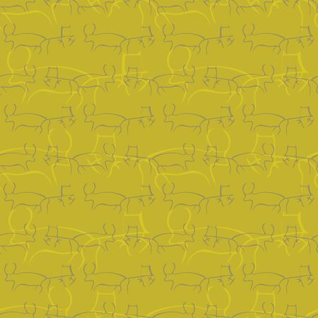 Seamless pattern with cave drawings. Illustration