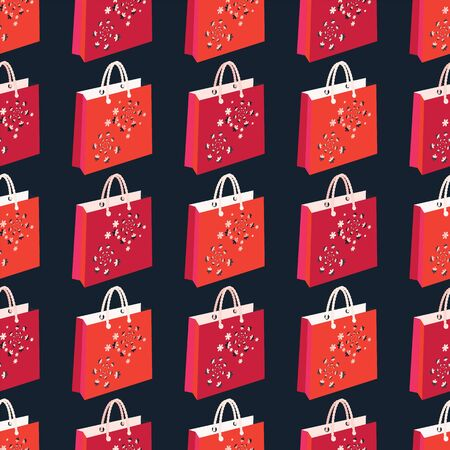 Vector illustration of 3d shopping bags with corded handles, cherry blossoms, flowers in lilac, pink, orange, coral, red, isolated from black background. Abstract vector seamless pattern for posters, banners, shopping, marketing. Zdjęcie Seryjne