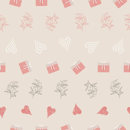 Hearts, chocolates, presents, gifts, shopping bags, flowers. Abstract vector seamless pattern with stylized shapes in geometric layout. Valentine themed graphic illustration in pink, cream and white isoalted from background.