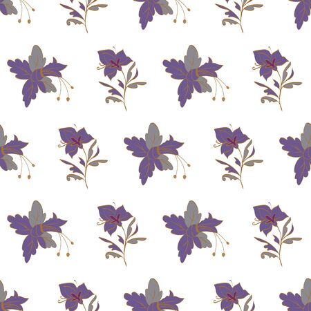 Floral seamless pattern. Vector illustration of abstract orchids and lilies in purple, lilac, orange, gold. Isolated from white background. Designed for fashion, fabric, home decor.