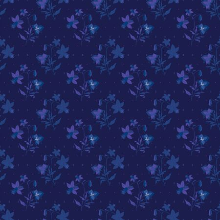 Floral seamless pattern. Vector illustration of abstract orchids, dots, lilies in purple, navy, blue, indigo and yellow. Isolated from background. Designed for fashion, fabric, home decor.