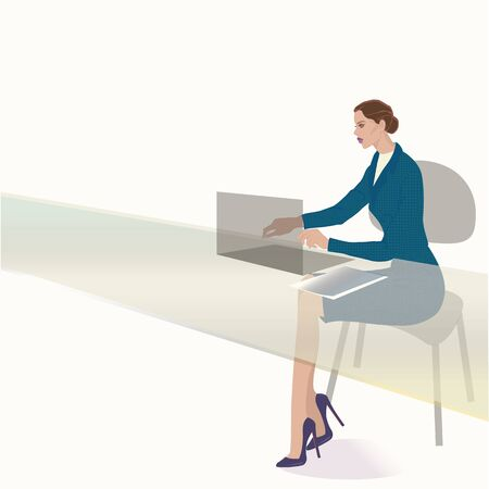 VECTOR FASHION ILLUSTRATION OF A YOUNG STYLISH CAREER WOMAN WORKING ON COMPUTER, WEARING TEAL TWEED JACKET, PENCIL SKIRT, HIGH HEELS AND LILAC LIPSTICK.