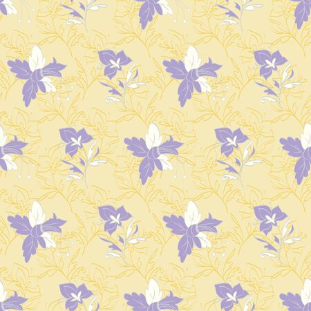 Floral seamless pattern. Vector illustration of abstract orchids and daffodils in lavender, cream and yellow. Isolated from background. Designed for fashion, fabric, home decor.