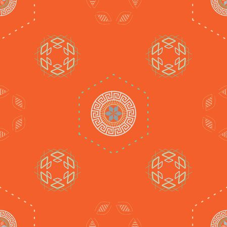 Vector Illustration of stylized traditional circular ornaments and motifs. Mongolian seamless pattern in orange, coral, grey, sage, cream for gifts, posters, flyers, wallpaper, textile, fabric and scrapbooking.