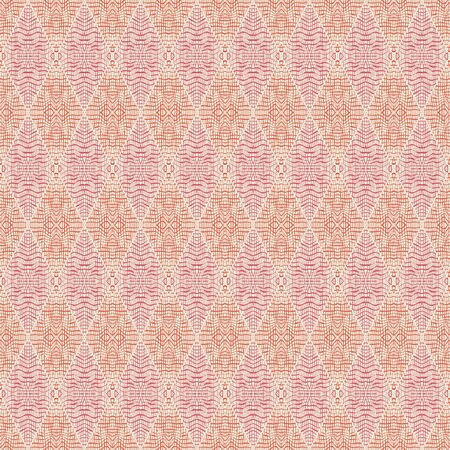 Vector illustration of red, coral scribbled warped rhombuses on cream background. Scribble texture, textile rapport. Seamless repeat pattern for gift wrap, textile, fabric, scrapbooking and fashion.