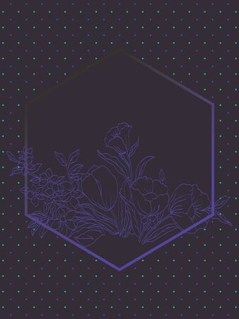Vector illustration of abstract purple flowers on dark dotted background. Artwork template with hexagonal frame.