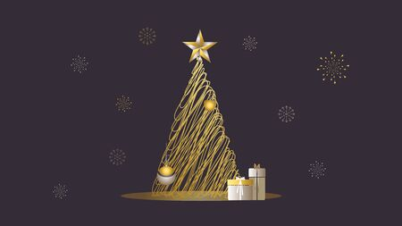 Vector Illustration with christmas lights, snowflakes, tree, gifts, presents and ornaments in shades of cream, gold, silver and yellow. Ideal for gifts, paper, scrapbooking and fabric.