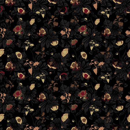Floral seamless pattern. Vector illustration of abstract leaves, flowers, poppies, roses and tulips in cream, olive, tan and burgundy. Isolated from black background. Designed for fashion, fabric, home decor.