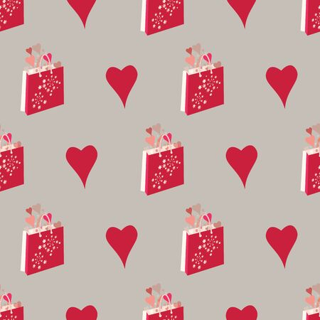 Hearts, presents, gifts, shopping bags, flowers. Abstract vector seamless pattern with stylized shapes. Valentine themed graphic illustration in red, pink, coral and cream. Isolated from background.
