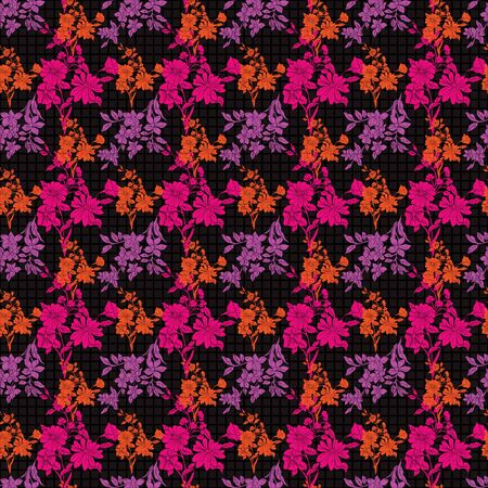 Floral seamless pattern. Vector illustration of abstract leaves, flowers, poppies and tulips in orange, lilac and pink Isolated from black background. Designed for fashion, fabric, home decor. Reklamní fotografie