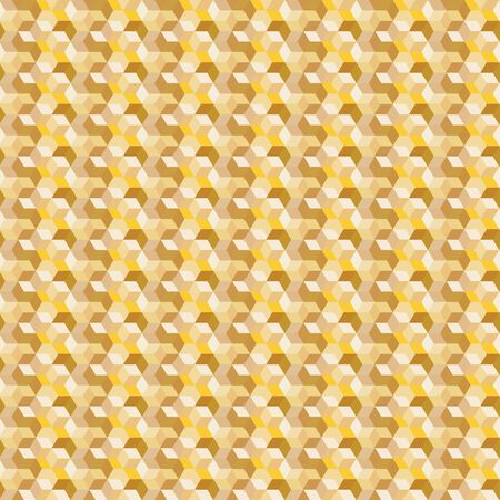 Abstract vector seamless op art pattern with rhombuses, hexagons. Graphic yellow, mustard, tan, cream, olive shapes. Monochromatic optical illusion repeating texture. Reklamní fotografie