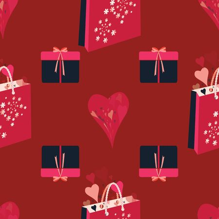 Hearts, presents, gift boxes, ribbons, bows, shopping bags, flowers. Abstract vector seamless pattern with stylized shapes. Valentine themed graphic illustration in lilac, pink, coral, red and navy.