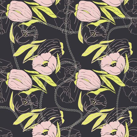 Floral seamless pattern. Vector illustration of abstract leaves, flowers, poppies, tulips and warped chains in yellow, pink, cream and charcoal. Isolated from background. Designed for fashion, fabric, home decor. Reklamní fotografie