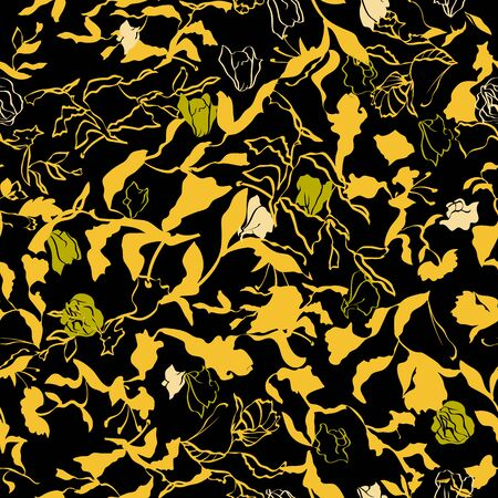 Floral seamless pattern. Vector illustration of abstract leaves, flowers, roses, lilies and hibiscuses in yellow, lime, olive, cream on black background. Designed for fashion, fabric, home decor.