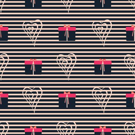 Hearts, presents, gift boxes, ribbons, bows, stripes. Abstract vector seamless pattern with stylized shapes. Valentine themed graphic illustration in lilac, pink, coral, red and navy. Isolated from background.