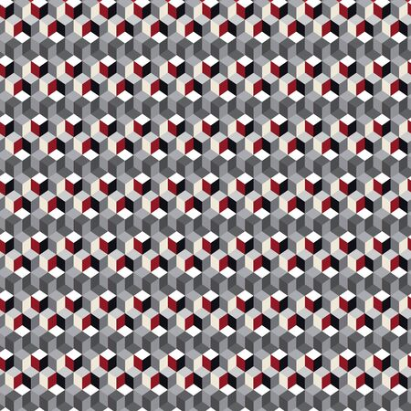 Abstract seamless pattern with layered isometric cubes, rectangles, rhombuses, blocks and tiles. Vector illustration in shades of red, cream, grey, white and black. Isolated from background.