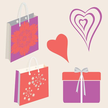 Set of abstract vector hearts, presents, gift boxes, ribbons, bows, shopping bags, flowers, mandala. Valentine themed graphic elements in lilac, pink, coral, red and purple. Ilustrace