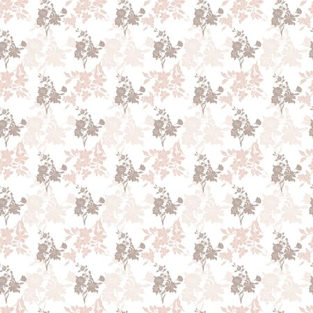 Floral seamless pattern. Vector illustration of abstract leaves, flowers, petunias, poppies, roses and daisies in cream, beige and white. Isolated from background. Designed for fashion, fabric, home decor.