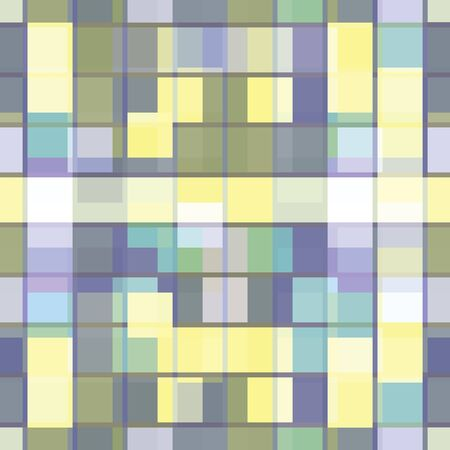 Abstract seamless pattern with layered squares, blocks and tiles. Vector illustration in shades of yellow, lilac, sage, green, lavender and grey. Isolated from background.