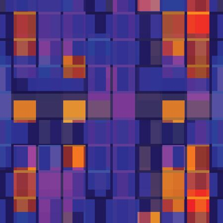 Abstract seamless pattern with layered squares, stripes, blocks and tiles. Vector illustration in shades of lilac, purple, red, orange, burgundy, blue, lavender and navy. Isolated from background.