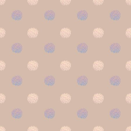 Abstract seamless pattern with fuzzy dots and dandelions. Vector illustration in shades of lilac, pink, cream, blue, tan and cream for fashion, home decor, clothing, wallpaper, gift wraps and scrapbooking.