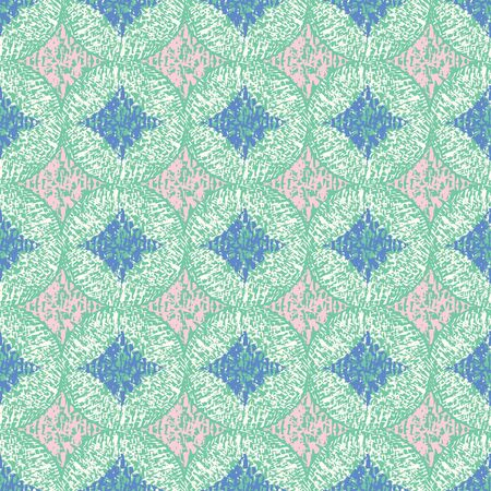 Vector illustration of blue, green, pink, white scribbled warped rhombuses and circles. Scribble texture, textile rapport. Seamless repeat pattern for gift wrap, textile, fabric, scrapbooking and fashion.