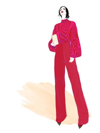 VECTOR FASHION ILLUSTRATION OF YOUNG, BEAUTIFUL WOMAN IN RED WIDE PANTS, HIGH HEELS AND LONG SLEEVED TOP, HOLDING A CLUTCH BAG. ISOLATED FROM WHITE BACKGROUND.