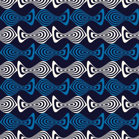 Vector illustration of stylized abstract fish shapes in blue, navy and cream. Blended, circular, wavy texture, textile rapport. Seamless repeat pattern for gift wrap, textile, fabric, scrapbooking and fashion.