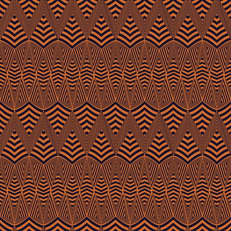 Vector illustration of burnt orange and black warped zigzags and stripes. Tribal texture, textile rapport. Seamless repeat pattern for gift wrap, textile, fabric, scrapbooking and fashion. Reklamní fotografie