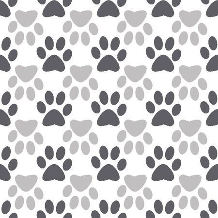 Vector illustration print in white, grey and black. Seamless pattern with cats and dogs paw prints on white background. Perfect for gifts, wallpaper, fabric and scrapbooking.
