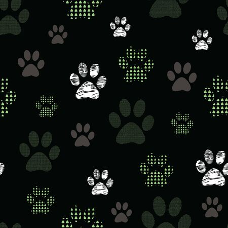 Complex vector illustration print in green, lime, white, grey. Seamless pattern with cats and dogs paw prints on black background. Perfect for gifts, wallpaper, fabric and scrapbooking.
