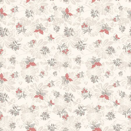 Floral seamless pattern. Vector illustration of abstract leaves, flowers, petunias, lilies and hibiscuses in coral, cream, pink and grey. Designed for fashion, fabric, home decor.