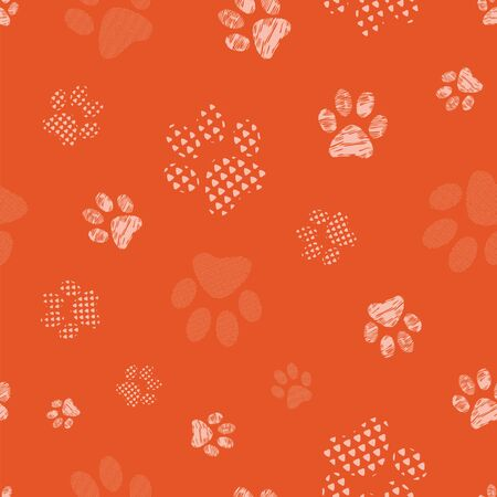 Complex vector illustration print in coral and cream. Seamless pattern with cats and dogs paw prints on black background. Perfect for gifts, wallpaper, fabric and scrapbooking.