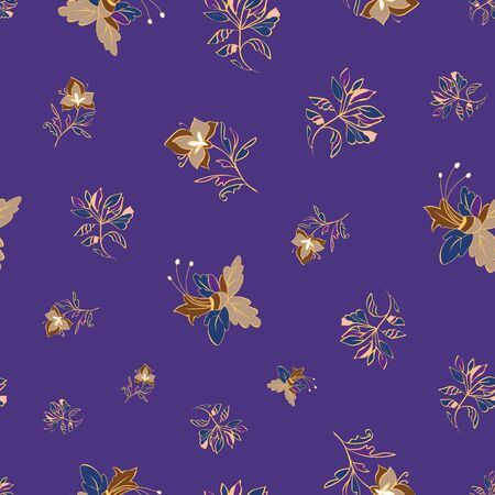 Floral seamless pattern. Vector illustration of abstract leaves, flowers, lilies and hibiscuses in cream, olive, purple and lavender. Designed for fashion, fabric, home decor.