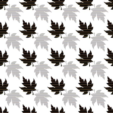 Illustration of stylized maple leaves in yellow, black and grey, isolated from white background. Seamless pattern, vector background for gifts, posters, flyers, wallpaper, textile, fabric and scrapbooking. Reklamní fotografie