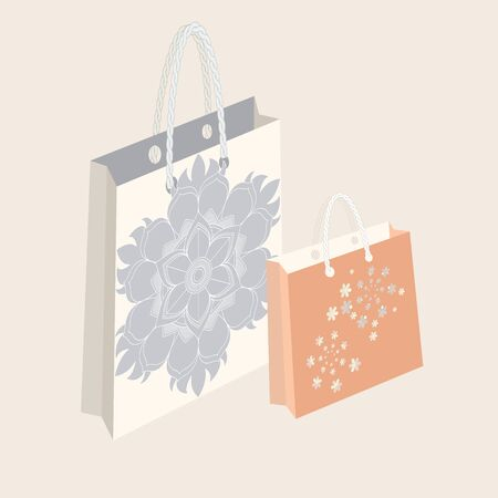 Vector illustration of shopping bags with floral print in neutral pastel colours. Isolated from background.