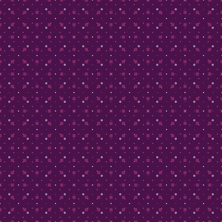 Abstract seamless pattern with small scale circles, dots, squares and diamonds. Vector illustration in shades of purple, pink, lilac, violet, mauve and white. Isolated from background. Reklamní fotografie