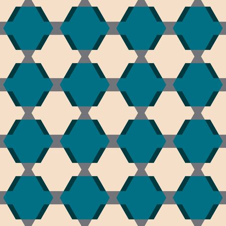 Abstract seamless pattern with layered hexagons and rhombuses. Vector illustration in shades of turquoise, grey, cream and grey. Isolated from background. Perfect for scrapbooking, fabric, wallpaper, textile, gifts, cards. Reklamní fotografie