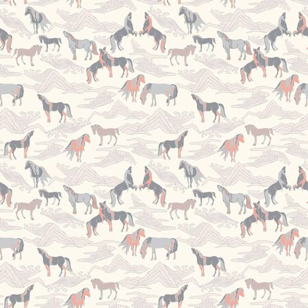 Vector illustration of horses in different poses, stylized mountains, hills, winds and rivers. Seamless pattern in shades of cream, tan, pink and brown. Designed for scrapbooking, wallpaper, gift wraps, fabric, home decor.