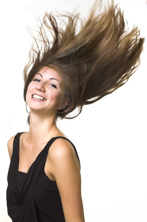 The beautiful girl with fluttering hair Stock Photo - 1574808