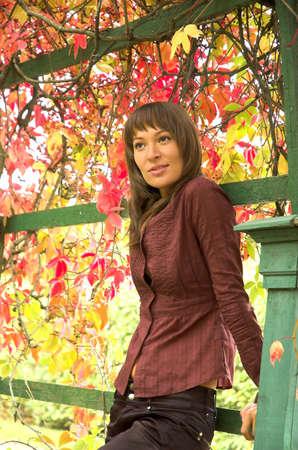 The beautiful girl in autumn park Stock Photo - 1807780