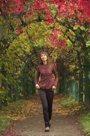 The beautiful girl in autumn park Stock Photo - 1807776