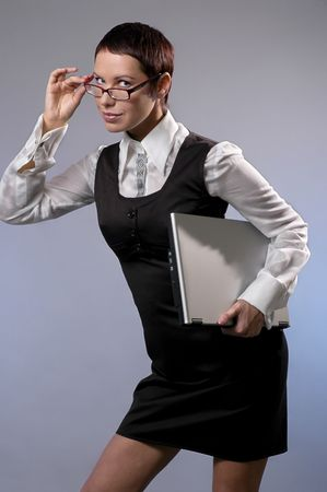 Businesswoman with a computer photo